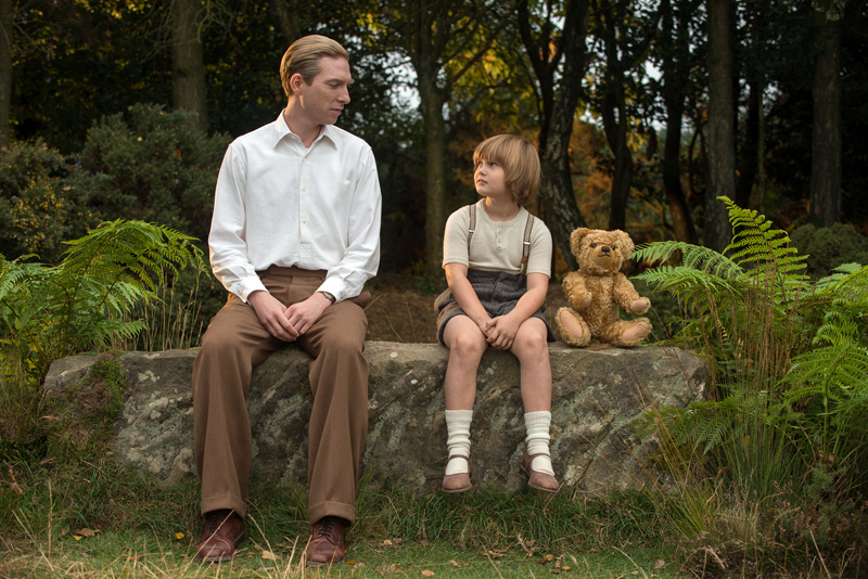 "Domnhall Gleeson (left) and Will Tilston star in ""Goodbye Christopher Robin."""