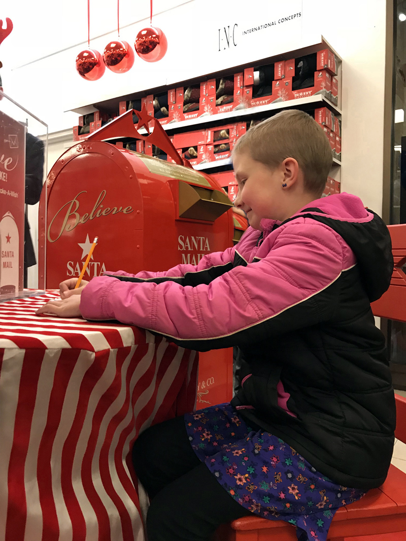 Madison Lorrain found out her wish to go to Disney World will be granted by Make-A-Wish Maine at Macy's in Portland on Dec. 8. She then had a mini shopping spree for her trip at Macy's and wrote a letter to Santa.