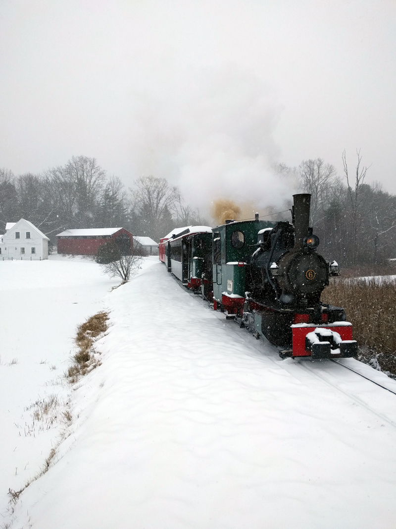 The Boothbay Railway Village's staff and volunteers have come up with an opportunity for one more chance to celebrate the holiday season in vintage style. A New Year's ride will be offered on Saturday, Dec. 30. (Photo courtesy Boothbay Railway Village)