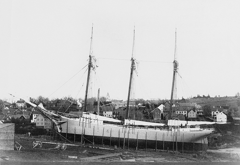 The three-masted schooner Madalene Cooney was built in 1892. (Photo courtesy Maine Maritime Museum)