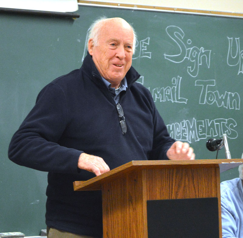 Moderator Don Means, of Bristol, opens Bremen's town meeting Thursday, Jan. 11. (Alexander Violo photo)