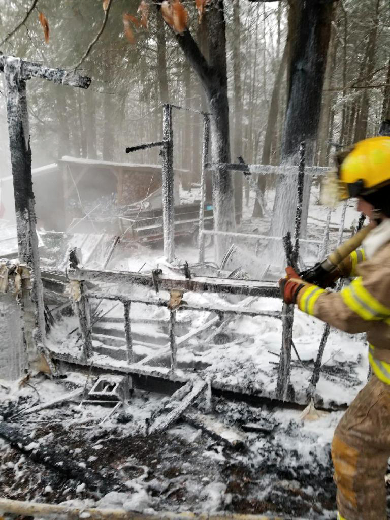 Fire destroyed a chicken coop at 848 Bristol Road the morning of Wednesday, Jan. 17. (Photo courtesy Paul Leeman Jr.)