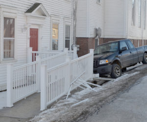Truck Strikes Walkway of Damariscotta Baptist Church