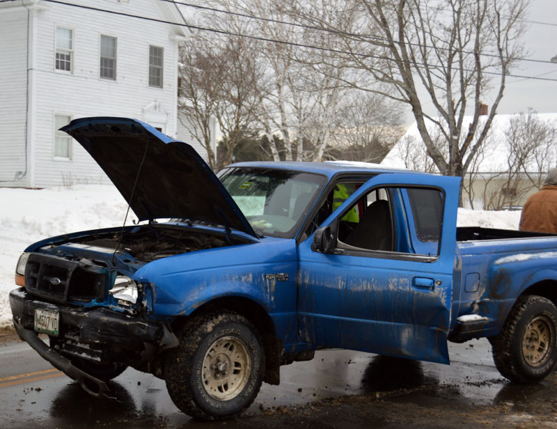 The driver of a Ford Ranger was arrested and charged with operating under the influence and driving to endanger after he hit another car on School Street in Damariscotta on Wednesday, Jan. 8. (Matthew Mitterhoff photo)