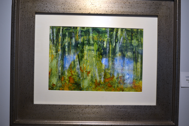 """""""Lost in the Woods,"""" an alcohol ink on Yupo paper piece by Helen Warner. (Christine LaPado-Breglia photo)"""