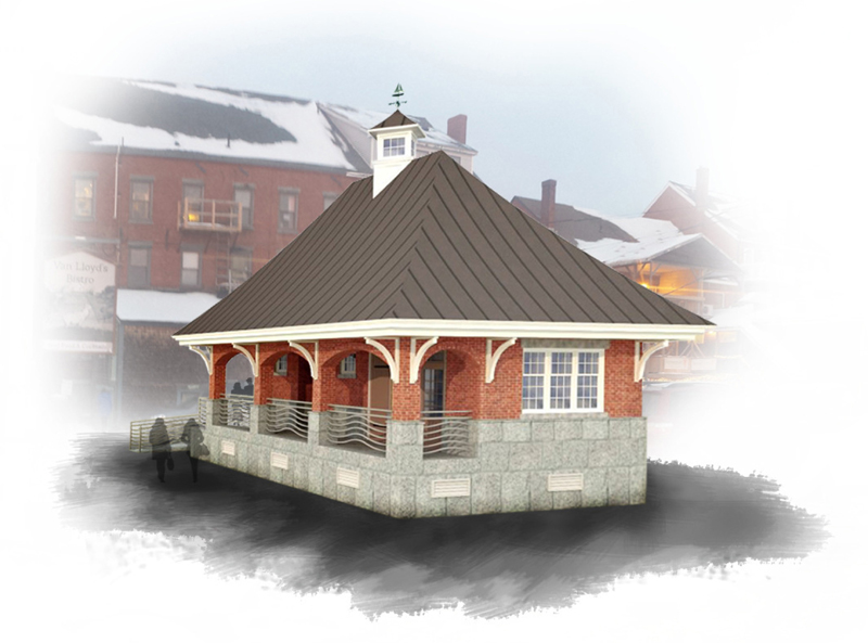 A 3-D rendering of the public restrooms in downtown Damariscotta prepared by Phelps Architects Inc. The rendering shows a brick facade, one of multiple options the town can choose from.