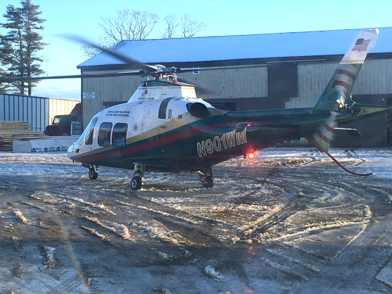 A Lifeflight helicopter picks up a patient at N.C. Hunt Inc. in Jefferson the morning of Wednesday, Jan. 24. The patient was hurt in a motor-vehicle accident nearby. (Photo courtesy Walter Morris)