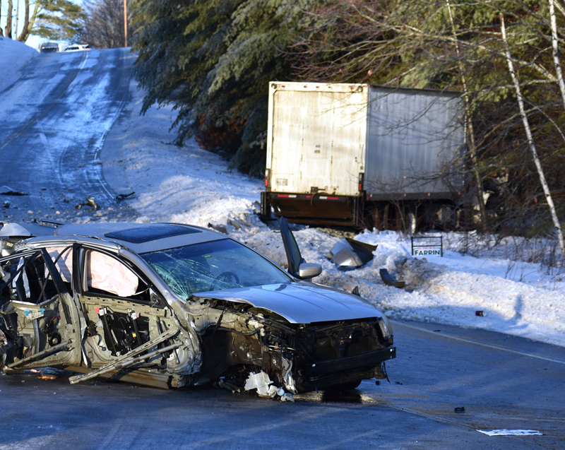 The area around the intersection of Routes 126 and 215 in Jefferson was closed in the aftermath of a two-vehicle collision the morning of Wednesday, Jan. 24. A reconstruction team from the Maine State Police was en route to the scene.(Alexander Violo photo)
