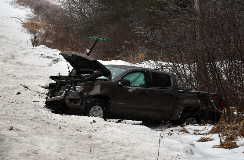 A Chevrolet pickup went off Route 32 in Jefferson after the driver lost control of the vehicle due to icy road conditions, according to Lincoln County Sheriff's Deputy Kevin Dennison. (Alexander Violo photo)