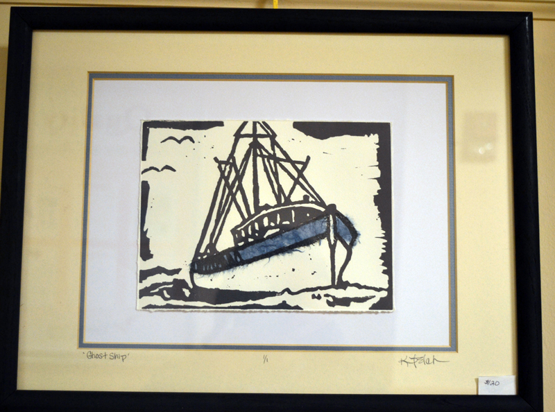 """""""Ghost Ship,"""" a block print by Union artist Kathy Felch, is part of Felch's art show on the walls of the Hall Gallery at LincolnHealth's Miles Campus through Friday, Feb. 9. (Christine LaPado-Breglia photo)"""