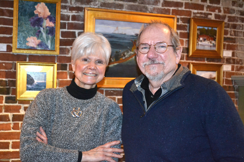 Artists Peggy Farrell and Will Kefauver attend the Jan. 24 opening reception at Damariscotta River Grill for the Pemaquid Group of Artists show running through March 13. Farrell and Kefauver have a number of pieces in the show. (Christine LaPado-Breglia photo)