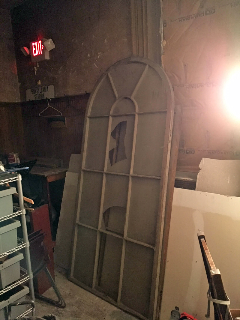 "One of the windows that was found under the Lincoln Theater stage. ""We had to break a hole in the wall to recover it,"" said Lincoln Theater Executive Director Andrew Fenniman. ""It is being restored and being put back up on the Main Street side of the building."" (Photo courtesy Lincoln Theater)"