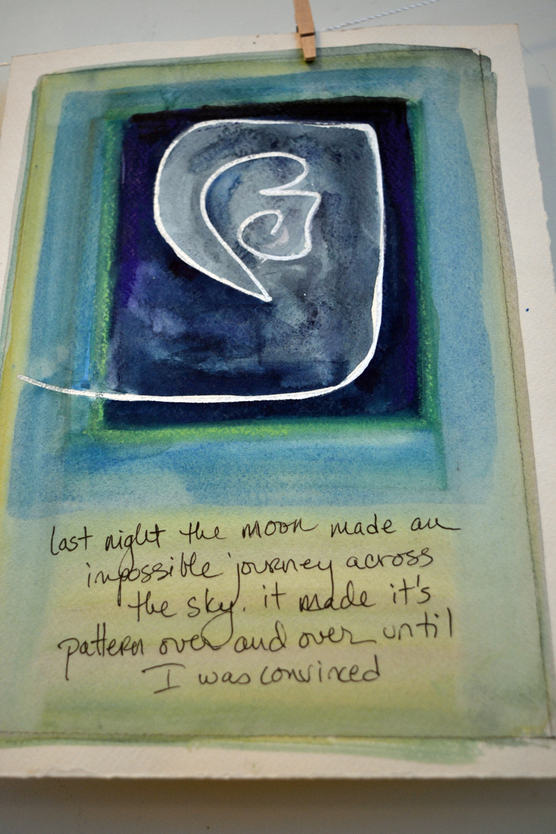 Joy Vaughan's daily art-journal pages are the focus of her new show at The Carey Gallery at Skidompha Library. (Christine LaPado-Breglia photo)