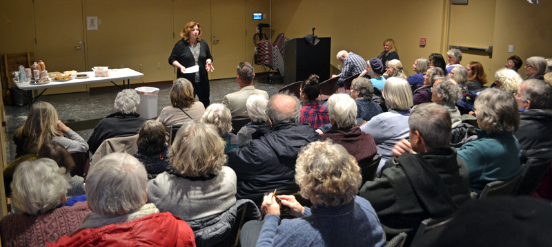 Former Maine Labor Commissioner Laura Fortman kicks off her campaign for the Maine Senate at Skidompha Public Library's Porter Hall in Damariscotta on Tuesday, Jan. 2. (Maia Zewert photo)