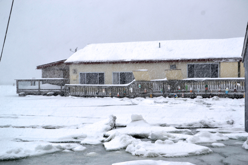 Shortly after high tide at Schooner Landing in Damariscotta during the blizzard the afternoon of Thursday, Jan. 4. (Maia Zewert photo)