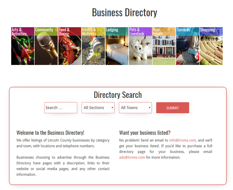 A screenshot of the homepage for the new business directory at lcnme.com.