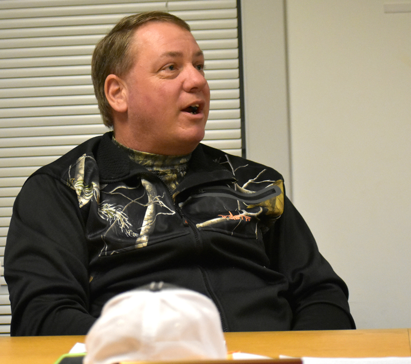 Waldoboro Selectman Abden Simmons discusses concerns about the Medomak Valley Community Foundation's plans for A.D. Gray on Tuesday, Jan. 23. (Alexander Violo photo)