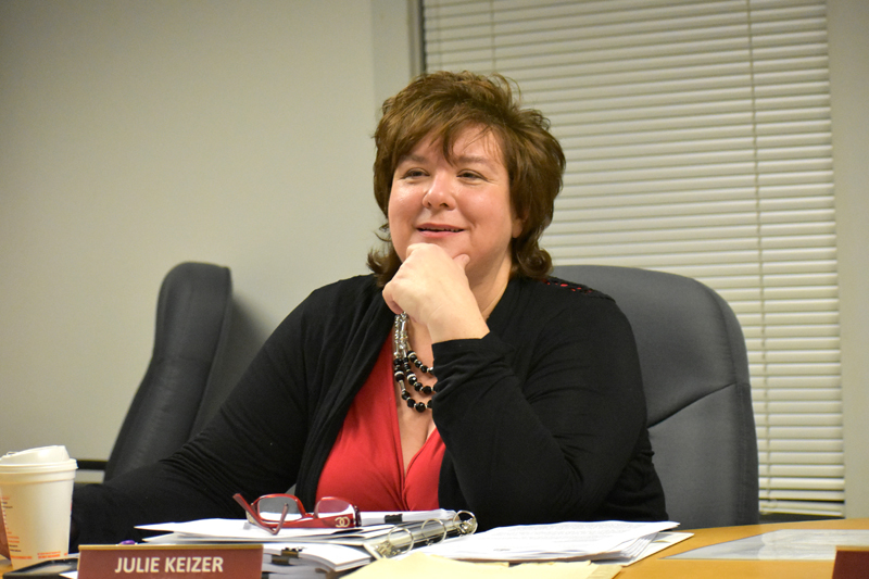 Waldoboro Town Manager Julie Keizer delivers the town manager's report to the Waldoboro Board of Selectmen on Tuesday, Jan. 23. (Alexander Violo photo)