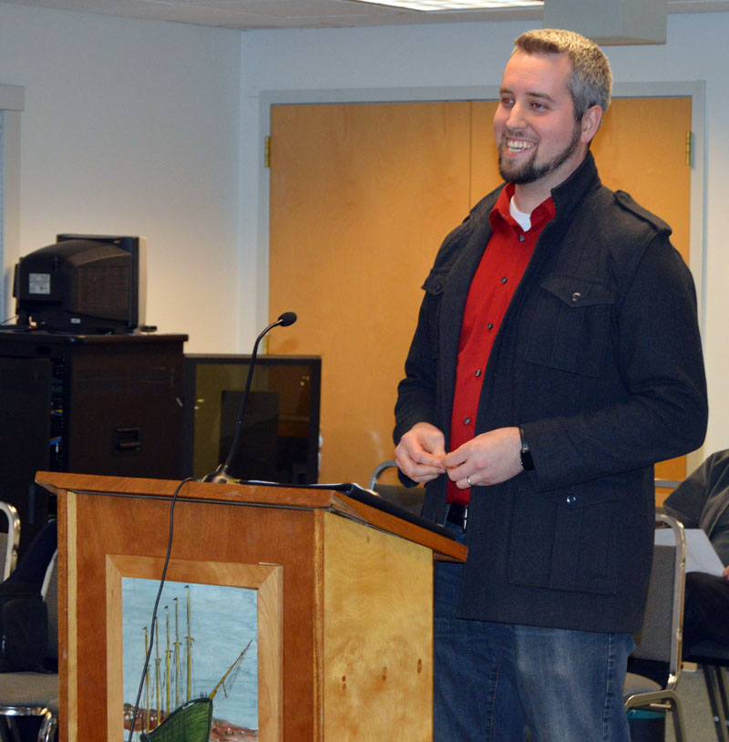 Andrew Williams, on behalf of Allan Beck, makes a presentation to the Waldoboro Planning Board regarding a change of use from restaurant to office space at 816 Atlantic Highway. (Alexander Violo photo)