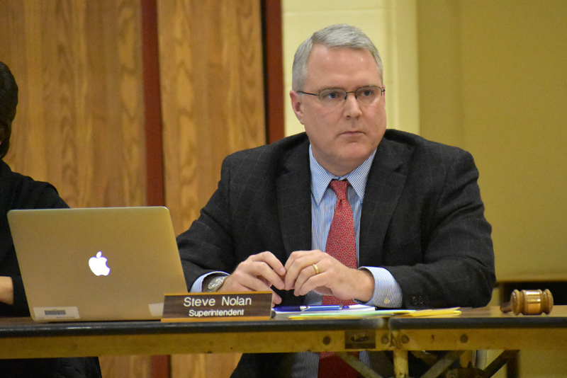 RSU 40 Superintendent Steve Nolan delivers his report to the RSU 40 Board of Directors at Miller School in Waldoboro on Thursday, Jan. 19. (Alexander Violo photo)