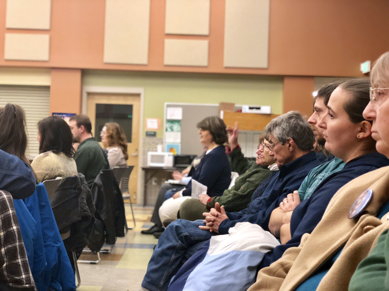Community members attend a Sheepscot Valley Regional School Unit Board of Directors meeting at Chelsea Elementary School on Thursday, Jan. 11. (Sam Luvisi photo)