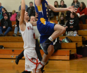 """<span class=""""entry-title-primary"""">Seahawks soar over Wolverines</span> <span class=""""entry-subtitle"""">Boothbay 75 - Wiscasset 49</span>"""