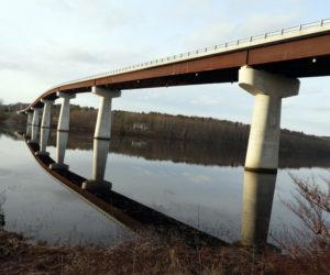 The Dresden-Richmond bridge reflects off the Kennebec River. (Photo courtesy Kaitlyn Grib)