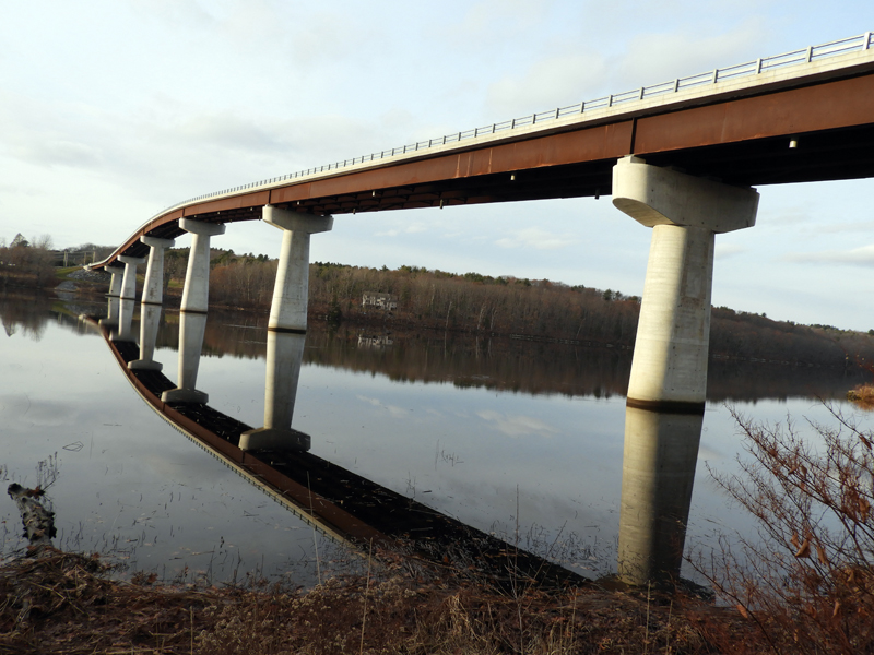 The Dresden-Richmond bridge reflects off the Kennebec River. (Photo courtesy Kaitlyn Grib)
