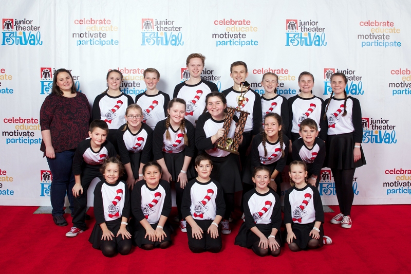 Boothbay Region YMCA students pose with their Outstanding Production trophy. (Photo courtesy James Barker Photography)