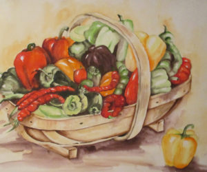 """Garden Peppers,"" by Peggy Farrell."