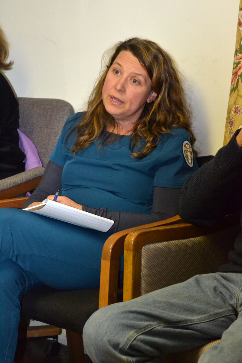 Alna resident Cathy Jones speaks during the public-comment portion of the Alna Board of Selectmen's meeting at the town office Wednesday, Jan. 31. (Christine LaPado-Breglia photo)