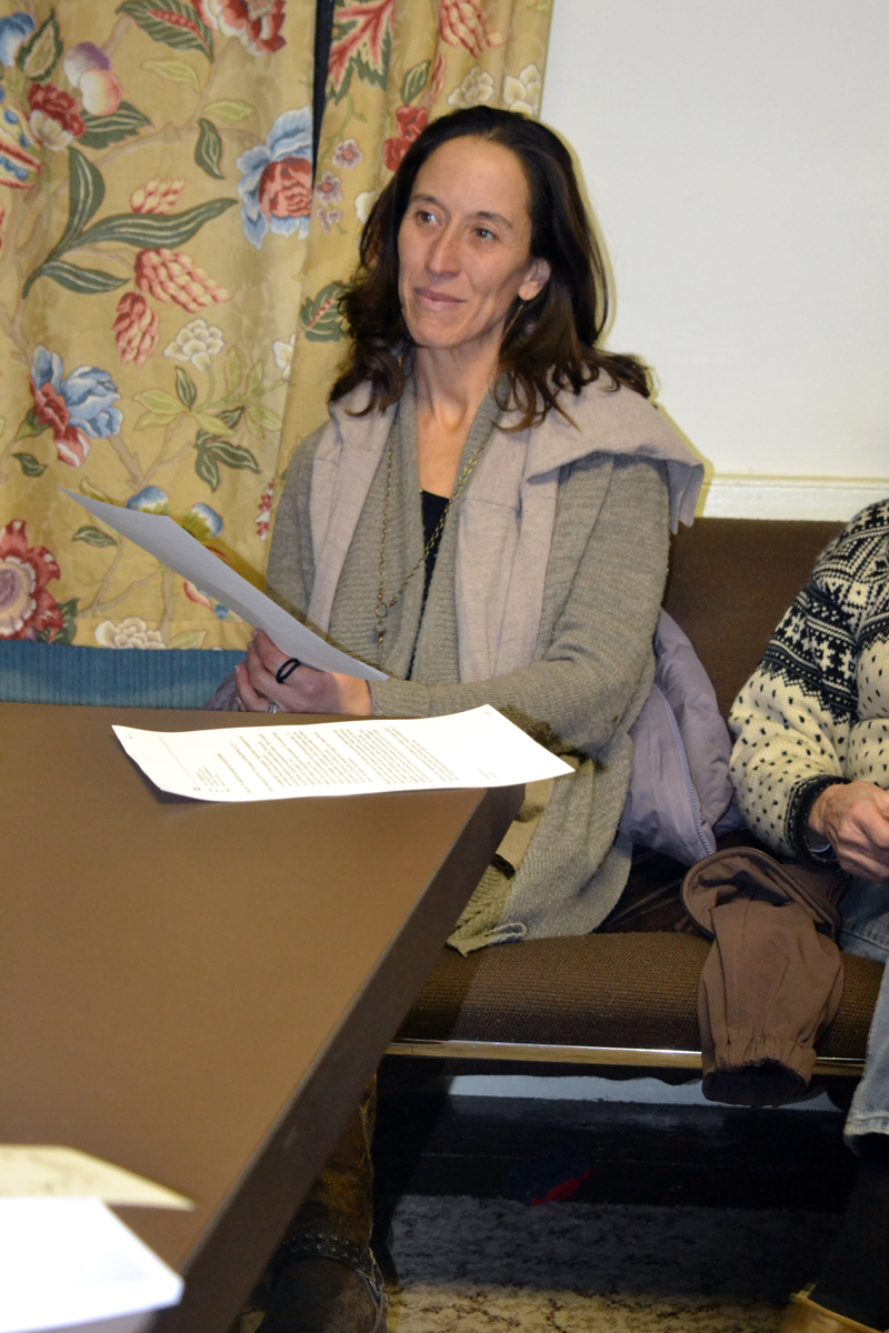 Juniper Hill School for Place-Based Education Director Anne Stires listens as the Alna Board of Selectmen presents her with the 2018 Spirit of America Foundation Tribute award Wednesday, Jan. 31. (Christine LaPado-Breglia photo)