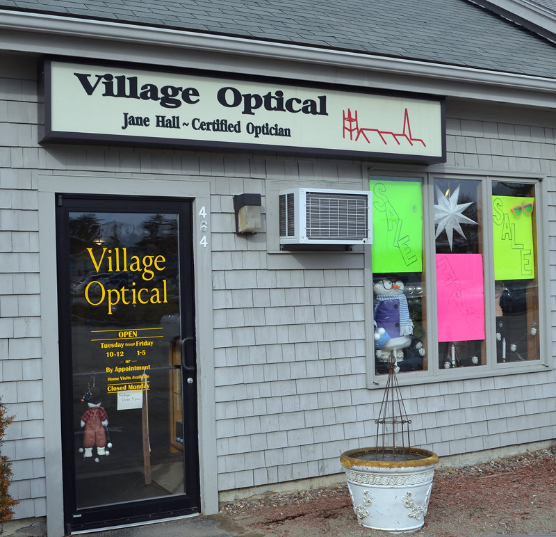 The entrance to Village Optical in Main Street Centre in Damariscotta. (Maia Zewert photo)