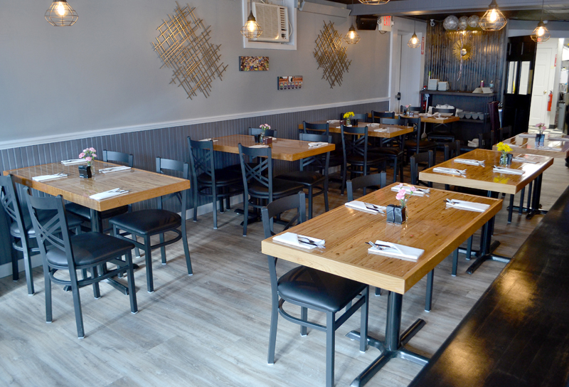 The interior of O-Cha, a Thai-inspired bar and grill at 88 Main St. in Damariscotta. The restaurant had a soft opening in mid-January. (Maia Zewert photo)