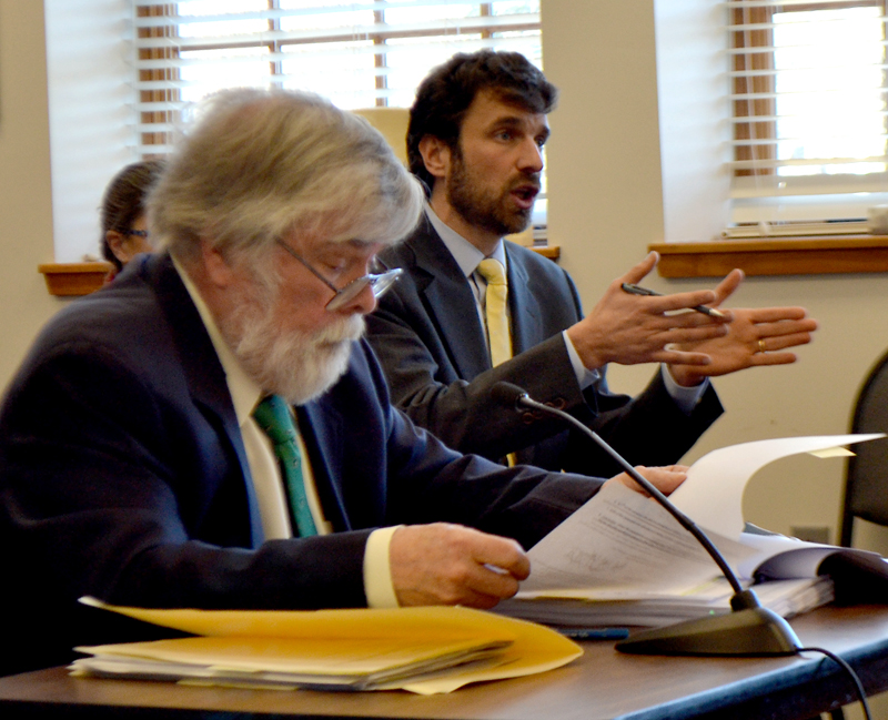 Drummond Woodsum attorney David Kallin (right) speaks during a Damariscotta Board of Appeals meeting Monday, Feb. 5 as attorney Jonathan Hull looks on. (Maia Zewert photo)