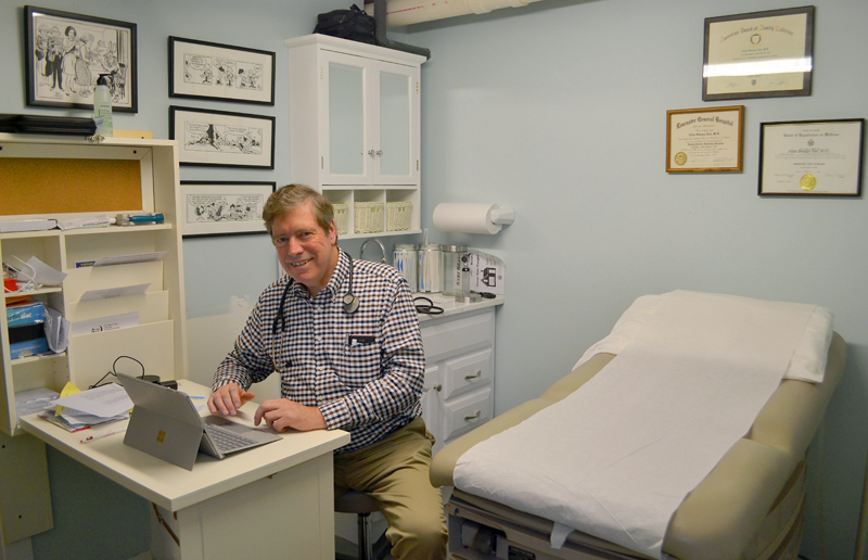"Dr. Allan ""Chip"" Teel in the examination room of his new medical practice at Hodgdon Green in Damariscotta. Teel recently returned to his work as a primary-care physician. (Maia Zewert photo)"