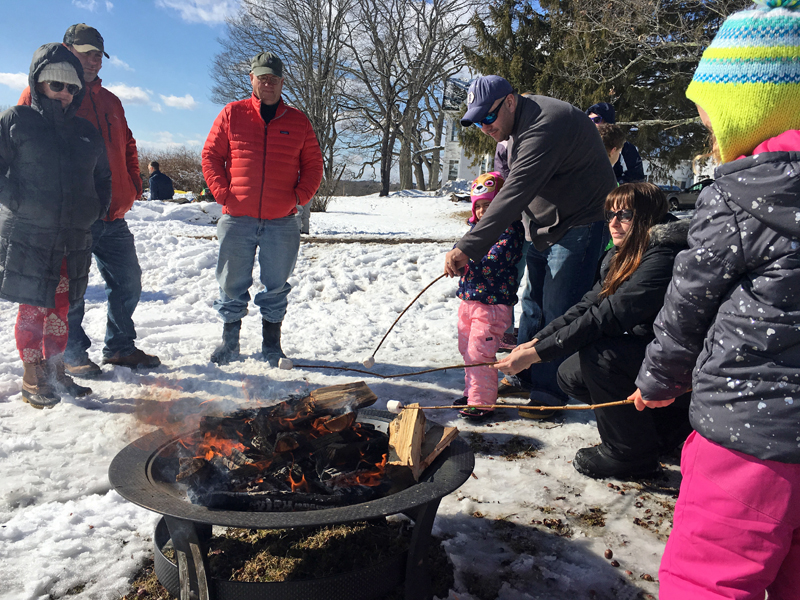 A crackling fire provided some warmth and was just right for toasting marshmallows at the Damariscotta River Association's Winter Fest.