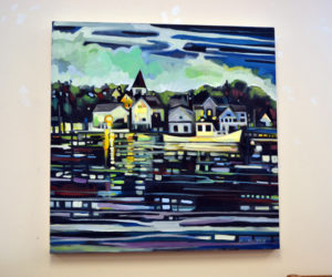 """""""Nightfall (Return to Kittery Point),"""" by Susan Bartlett Rice, hangs in her current show at the Bristol Area Library, running through Wednesday, Feb. 28. (Christine LaPado-Breglia photo)"""