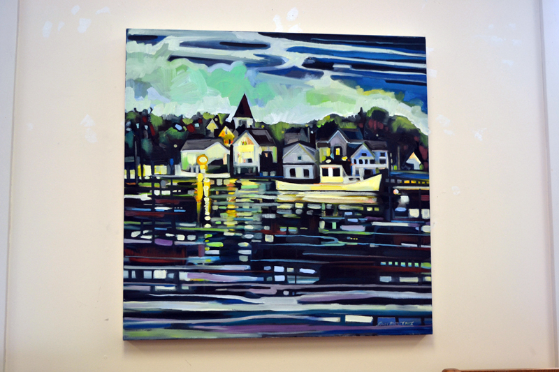 """Nightfall (Return to Kittery Point),"" by Susan Bartlett Rice, hangs in her current show at the Bristol Area Library, running through Wednesday, Feb. 28. (Christine LaPado-Breglia photo)"
