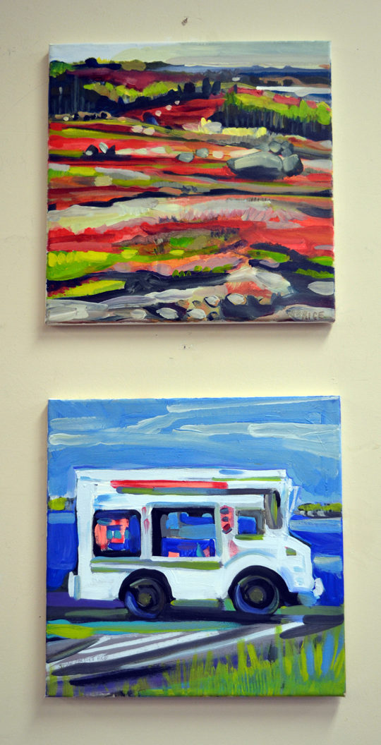"Susan Bartlett Rice's painting ""Blueberry Barren 1"" hangs above her charming painting of a mail-truck-turned-food-truck. (Christine LaPado-Breglia photo)"