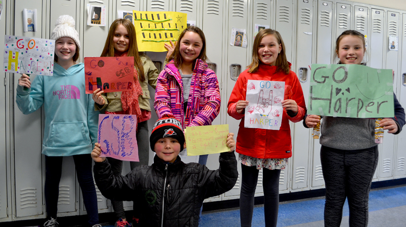 Great Salt Bay Community School fifth-grader Harper Lilly (center) stands with her brother and friends after placing second in the Lincoln County Spelling Bee on Thursday, Feb. 8. Front: Flynn Lilly. Back from left: Hanna Perce, Scarlett Stone, Harper Lilly, Vivian Burns, and Remy LeBel. (Maia Zewert photo)