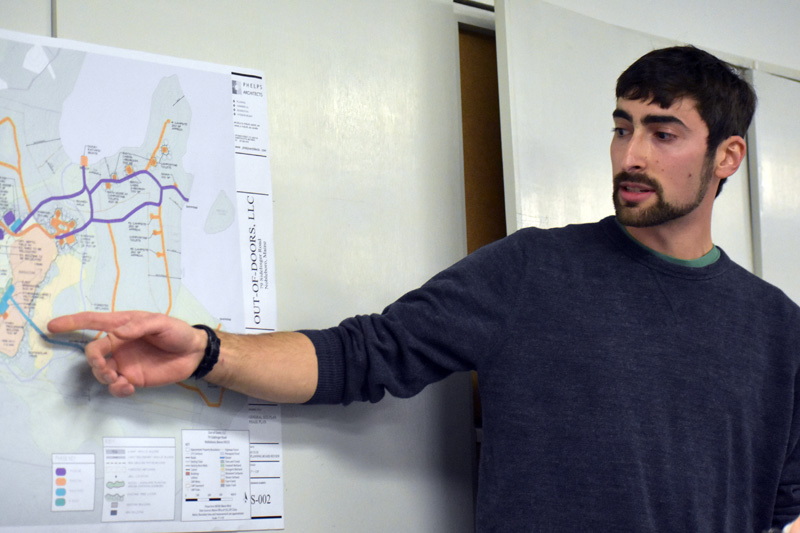Matt Silverman, of Out of Doors LLC, answers questions from the public during a meeting of the Nobleboro Planning Board on Thursday, Feb. 15. (Alexander Violo photo)