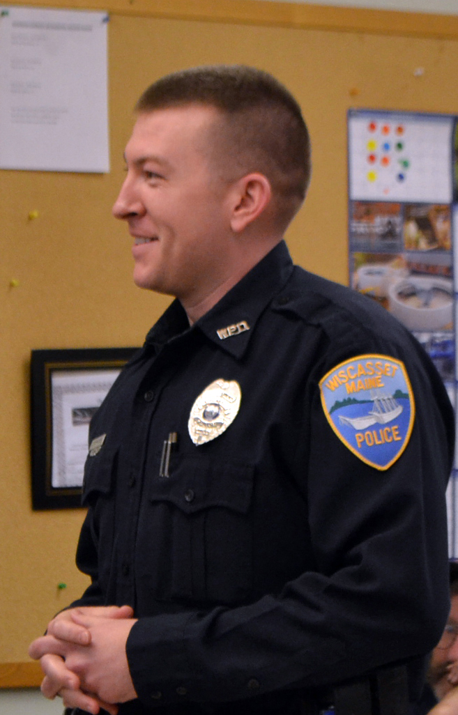 Officer Allan Torrance attends the Wiscasset Board of Selectmen's meeting Tuesday, Feb. 20. A new addition to the Wiscasset Police Department, Torrance is a nine-year veteran of the U.S. Army. (Charlotte Boynton photo)