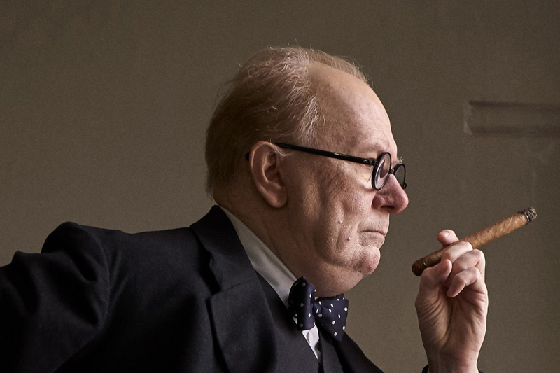 "Gary Oldman plays Winston Churchill in ""Darkest Hour."""