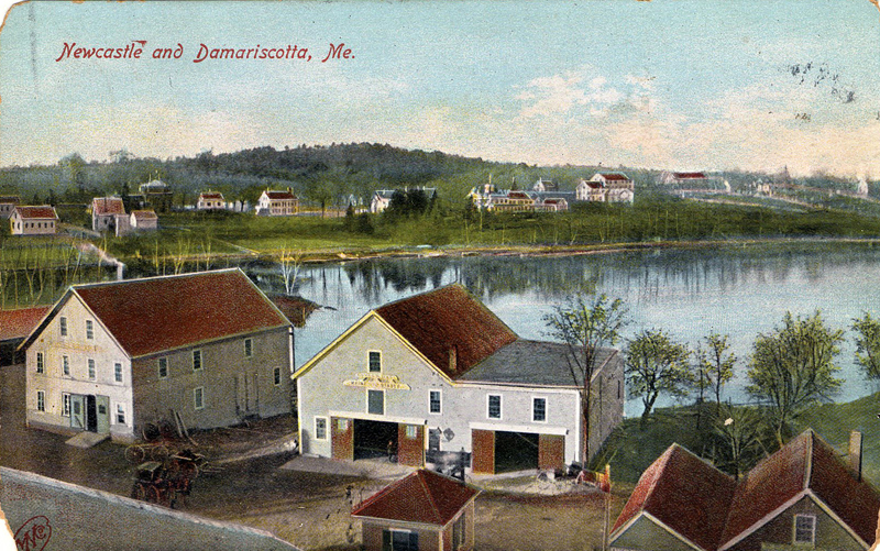 1908 postcard of the building of D.H. Northey, where he manufactured carriages and sleighs as far back as 1887 in Damariscotta. His building is on the far left in this photo. (Postcard from Marjorie and Calvin Dodge collection)