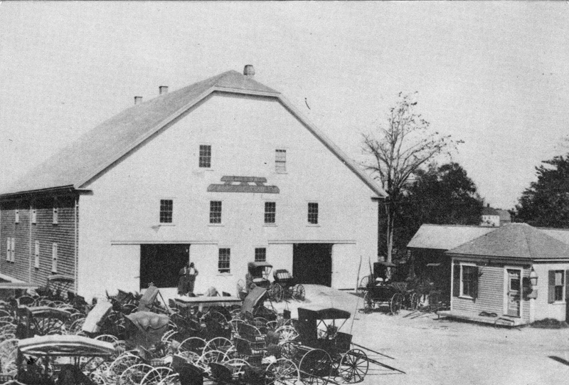 Royal Maine Hotel Stable, located where Elm Street Plaza is today. (Postcard from Marjorie and Calvin Dodge collection)