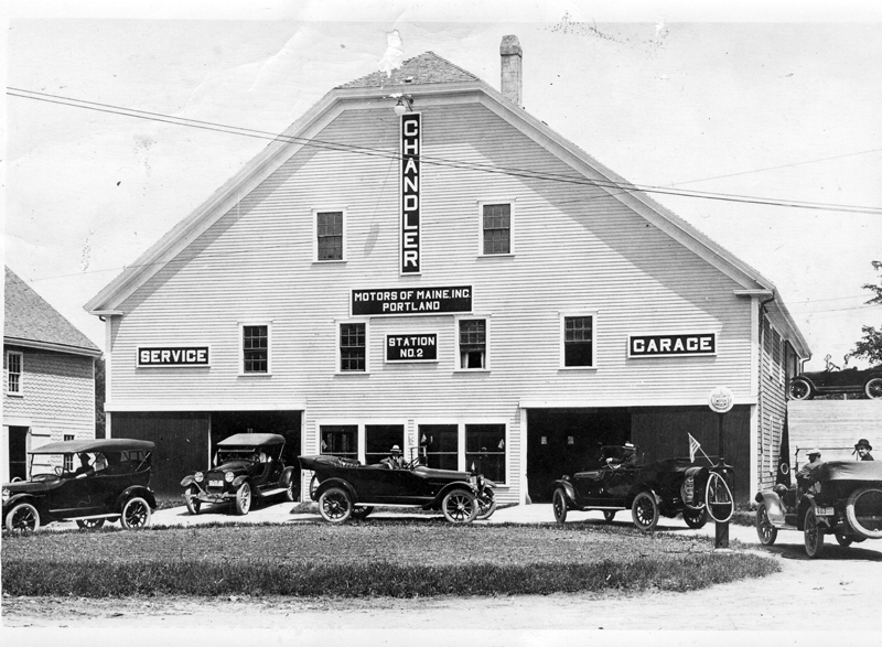 1925 Motor Service Station, home of Chandler & Cleveland Cars, A P. Bennett, proprietor. (Photo courtesy Marjorie and Calvin Dodge)