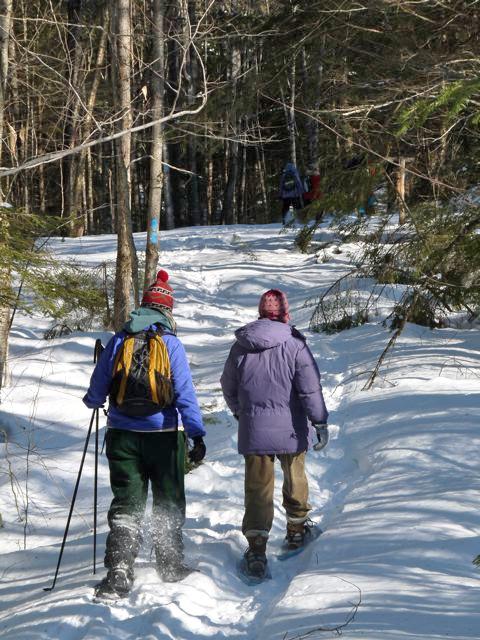 Snowshoeing on Whitten Hill in Montville.