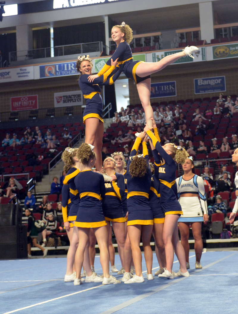 Medomak Valley cheerleaders placed third in the state Class B cheering championships in Bangor on Saturday, Feb. 10. (Paula Roberts photo)