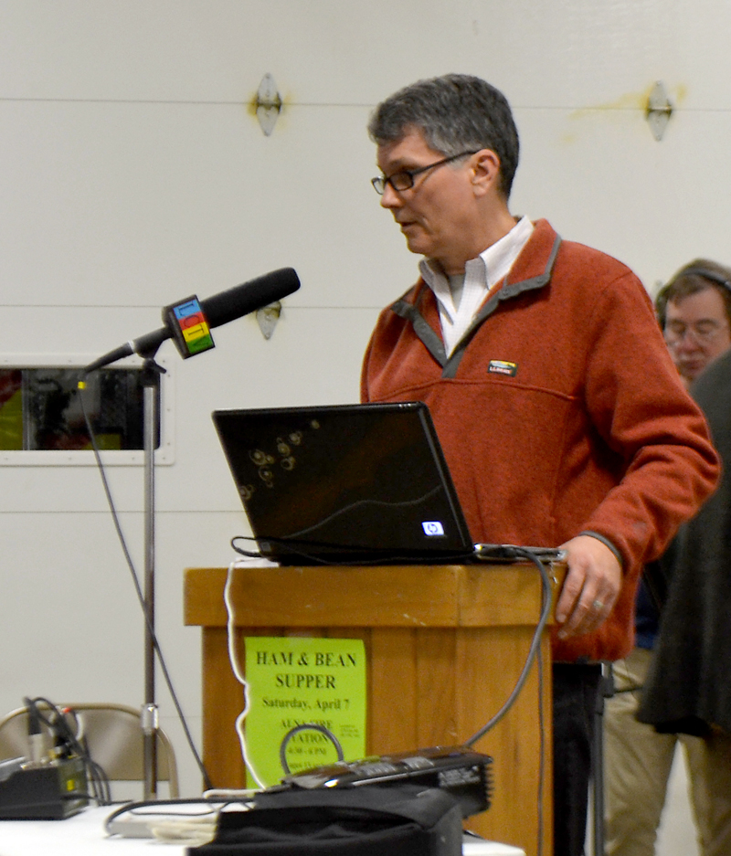 Alna resident Ed Pentaleri discusses the data he used in his presentation about the town's school enrollment during a public hearing Monday, March 5. (Maia Zewert photo)